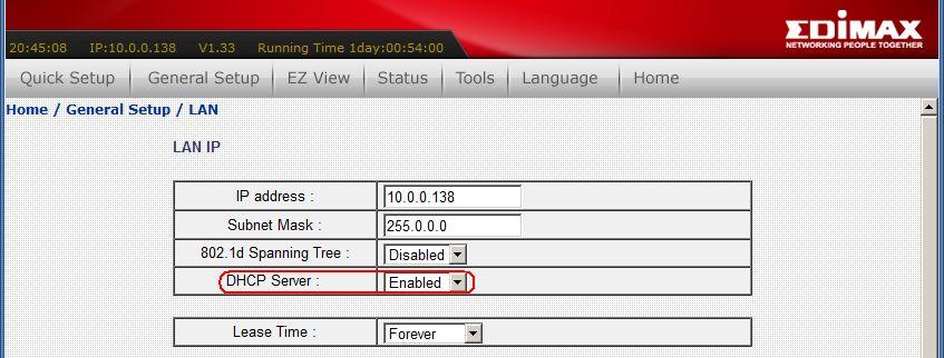 ביטול מנגנון ה-DHCP