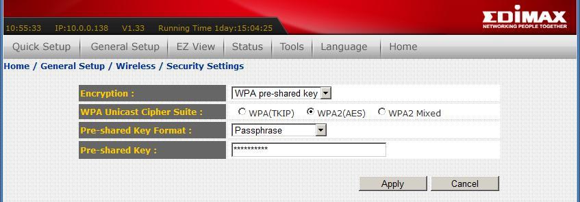הצפנה באמצעות סיסמא במנגנון WEP, WPA או WPA2